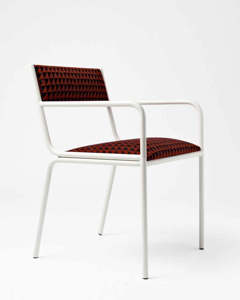 Chair V from Gamme Evolution. Bent and welded tubular steel. Designers Guild's Christian Lacroix Fabric.
