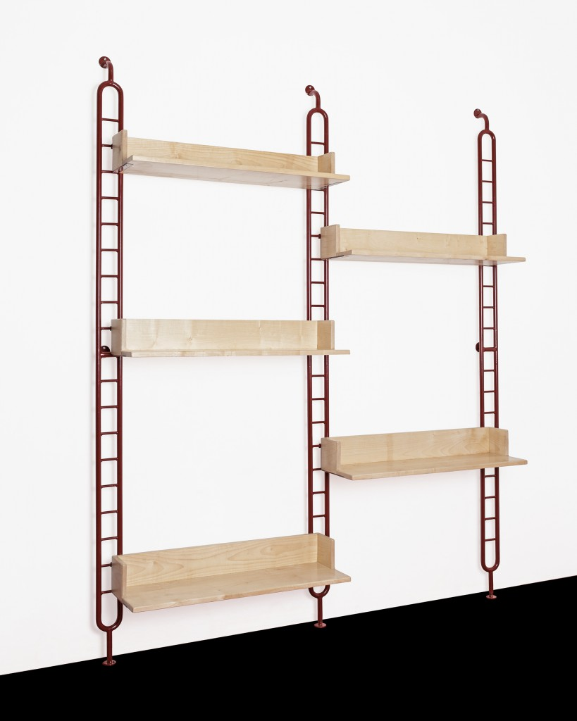 Shelf Rack 01 from Gamme 01. Bent and welded tubular steel. Folded steel sheet. Solid ash or oak.