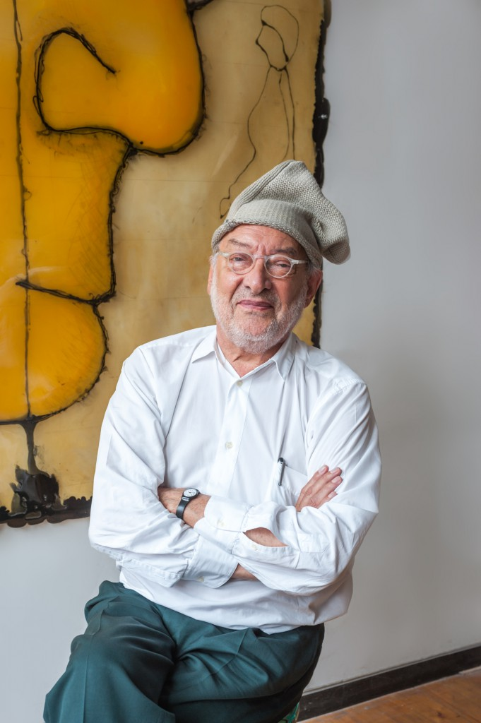 Gaetano Pesce wearing his Yohji Yamamoto hat at his SoHo studio, New York City May 2014. Photo: Mark O'Flaherty.