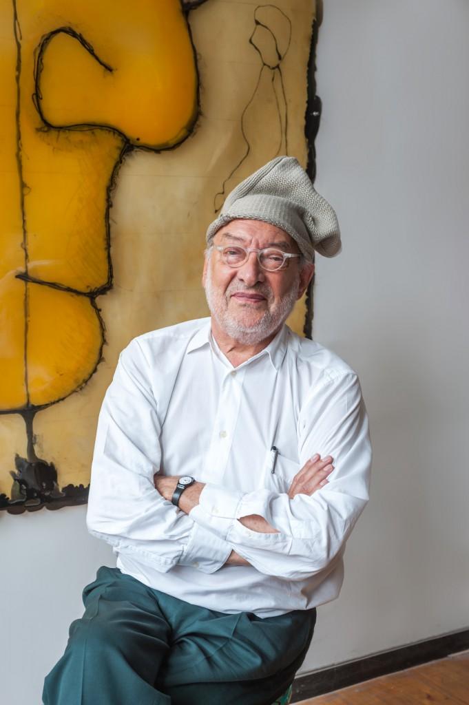 Gaetano Pesce wearing his Yohji Yamamoto hat at his SoHo studio, New York City May 2014. Photo: Mark O'Flaherty.