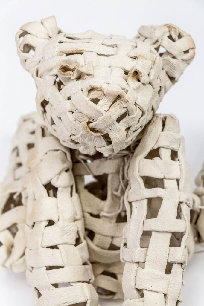Basket Case (2015), high fired hollow ceramic with moveable twine limb joints, by Gina M.