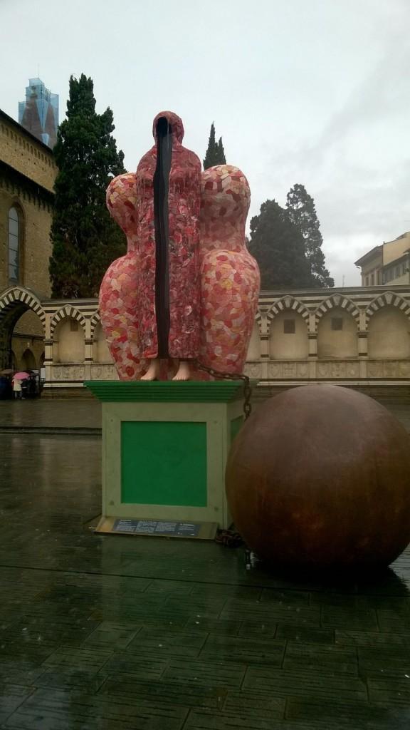 """Maestà tradita"" (or Majesty Betrayed) sculpture in piazza Santa Maria Novella, Florence. Photo: Gobbetto"