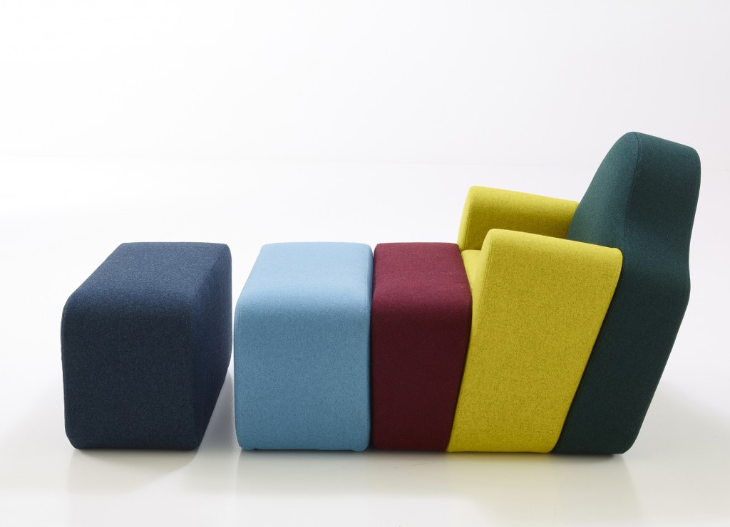 Canapé Slice wood and foam couch (1998) for Reedition Cinna 2016