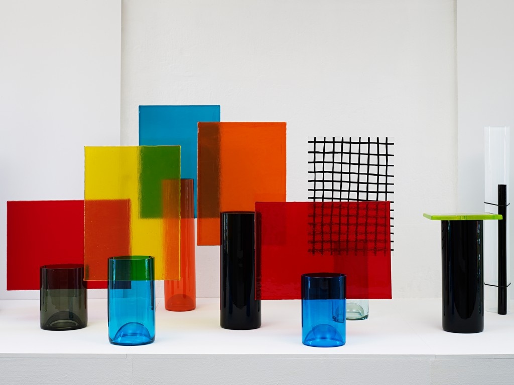 Torno Subito série gravée, écran, lisse, sérigraphiée and élastique blown glass vases for Galerie Kreo (1998-2001). Photo: Michel Bonvin