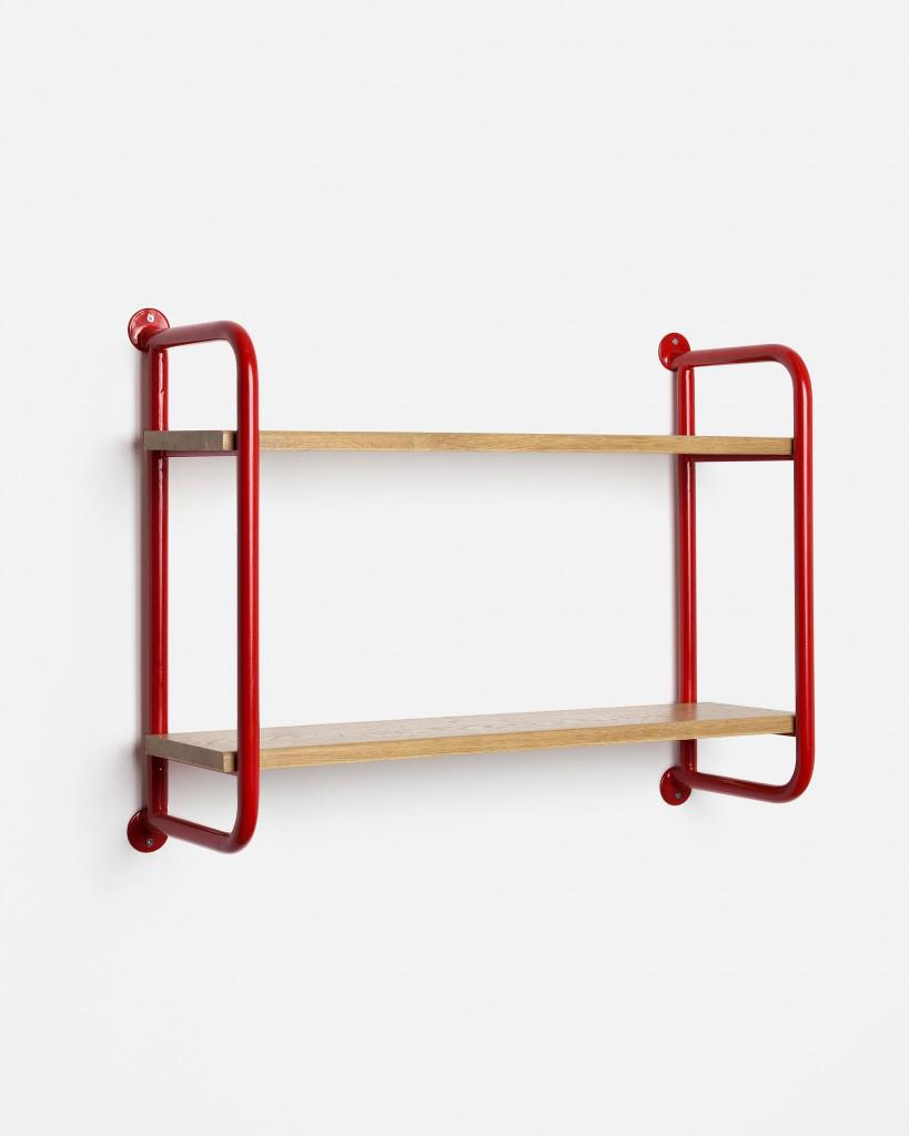 Shelf from Gamme 01. Bent and welded tubular steel. Oak veneered wood panel.