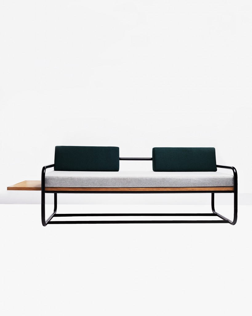 Sofa 01 from Gamme 02. Bent and welded tubular steel. Oak veneered wood panel. Tissu Kvadrat.