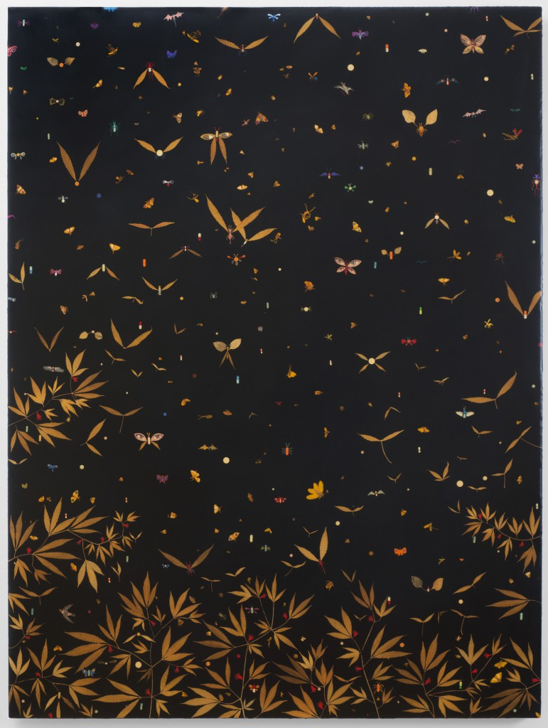 Esopus Creek Bug Drop (1996) by Fred Tomaselli, mixed media and resin on wood panel. Courtesy of the artist and James Cohan, New York.