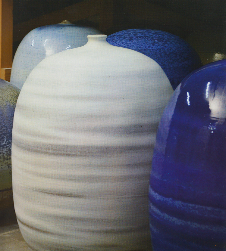 Antonio Lampecco (Maredret, BE), installation of large scale contemporary soft glazed ceramic sculptures with signature-made cristalline compositions, unique pieces, after 2000