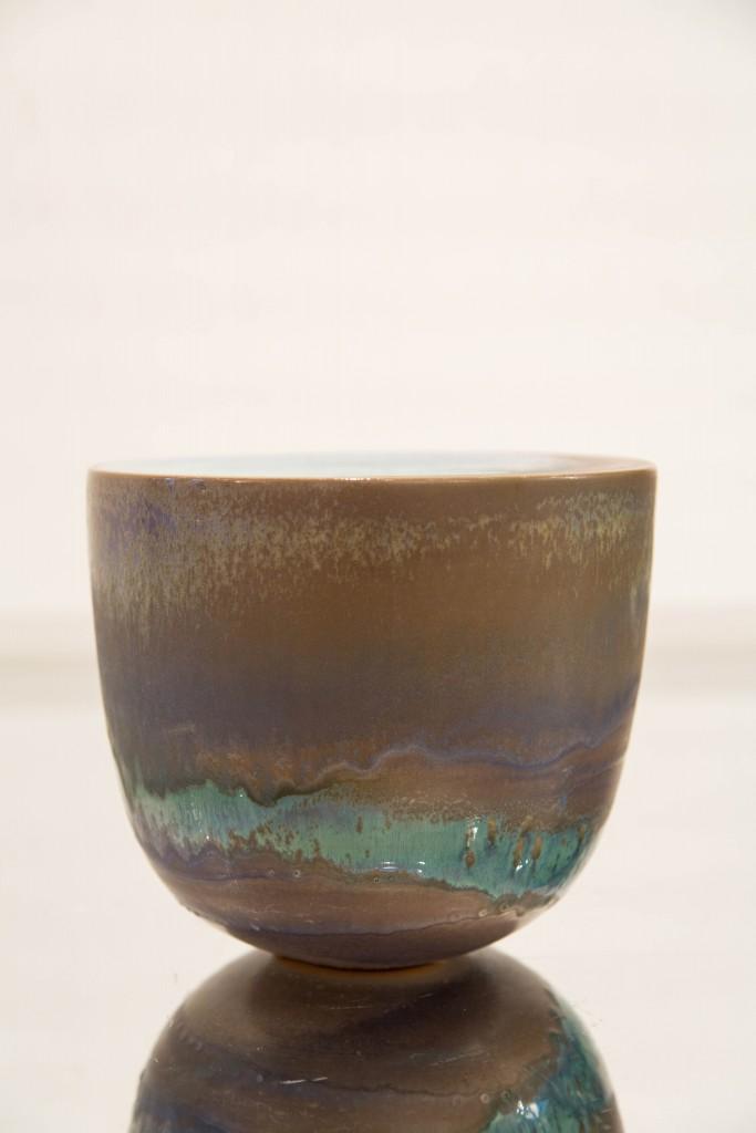 Pot bleu / vert : dimensions 18 x 8,5 cm / 1980.