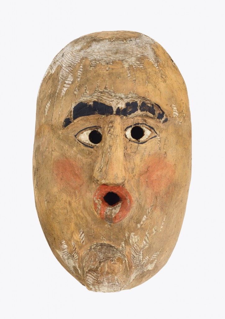 Men's mask, probably Southern Germany or Austria, first half 19th C., wood, 25 x 16 cm, Museum für Sächsische Volkskunst (Museum of Saxon Folk Art) © Staatliche Kunstsammlungen Dresden, photo: Elke Estel/Hans-Peter Klut