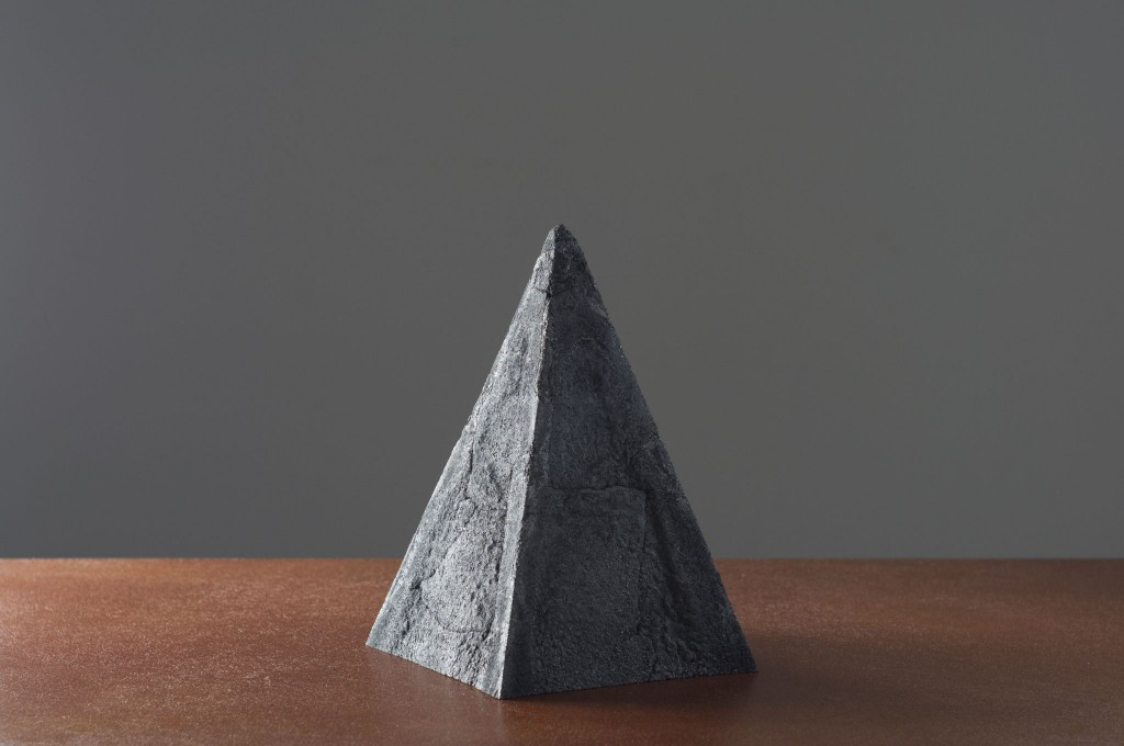 From Below Pyramid by Philipp Weber. Coke (99% carbon), destructive distillation, ca. 25h x 17 x 17 cm, 2016, ed. 1/8.