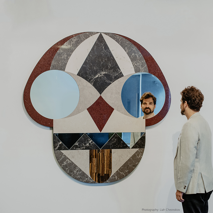 Face Mirror by Jaime Hayon, made with Caesarstone, part of Design Museum Holon's permanent collection. Photo: Liah Chesnokov