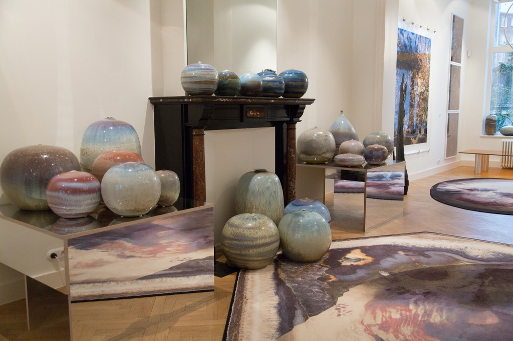 Spazio Nobile installation of large scale contemporary soft glazed ceramic sculptures with signature-made crystalline compositions, unique pieces, after 2000.