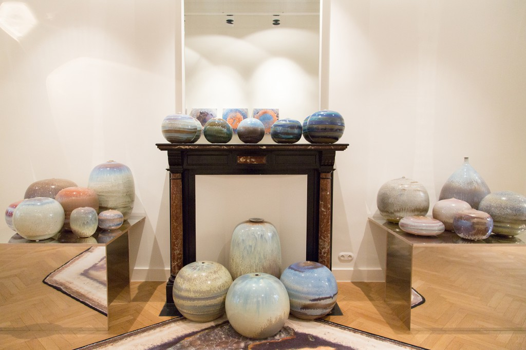 Installation of large scale contemporary soft glazed ceramic sculptures with signature-made crystalline compositions by Antonio Lampecco, unique pieces, after 2000.