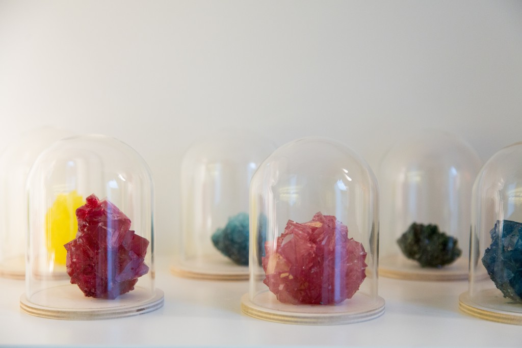 Bespoke crystal vases on demand . Check the small colour samples in Spazio Nobile's kitchen. crystallized minerals, 2016, unique pieces