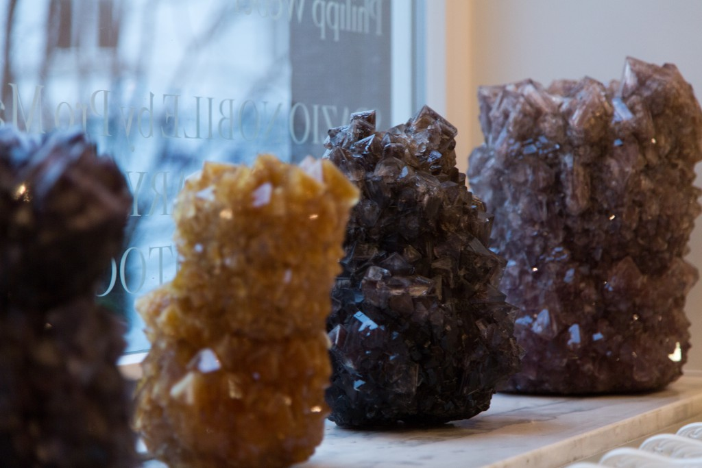 Crystal Vases, crystallized minerals, unique pieces. All sizes are available in all colors based on small samples displayed in Spazio Nobile's kitchen