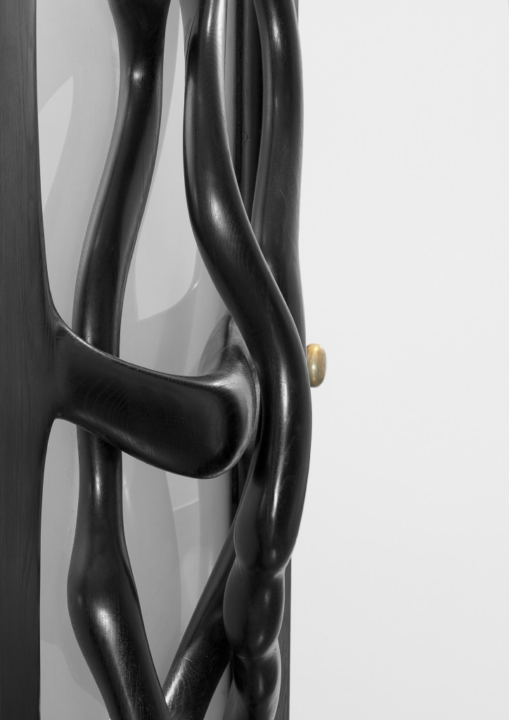 Detail of A Sculpted Door (1976), maple, ebonised maple, glass, brass fitments.