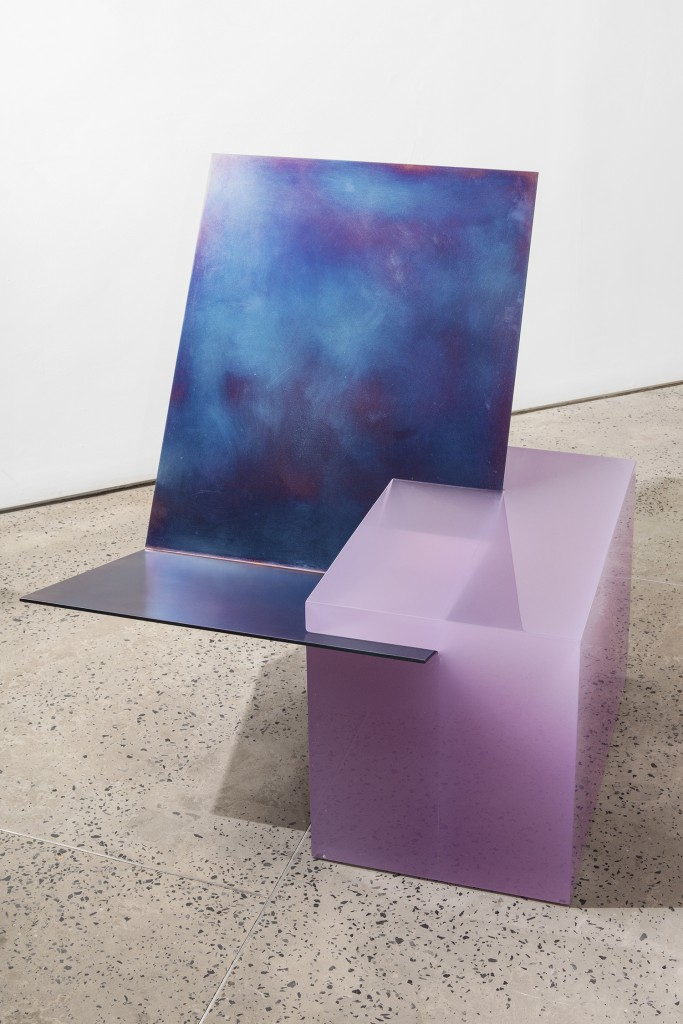 'EQUALS' easy chair by Sabine Marcelis, Cast polished resin, tempered waxed steel, 40h x 31w x 31d in.