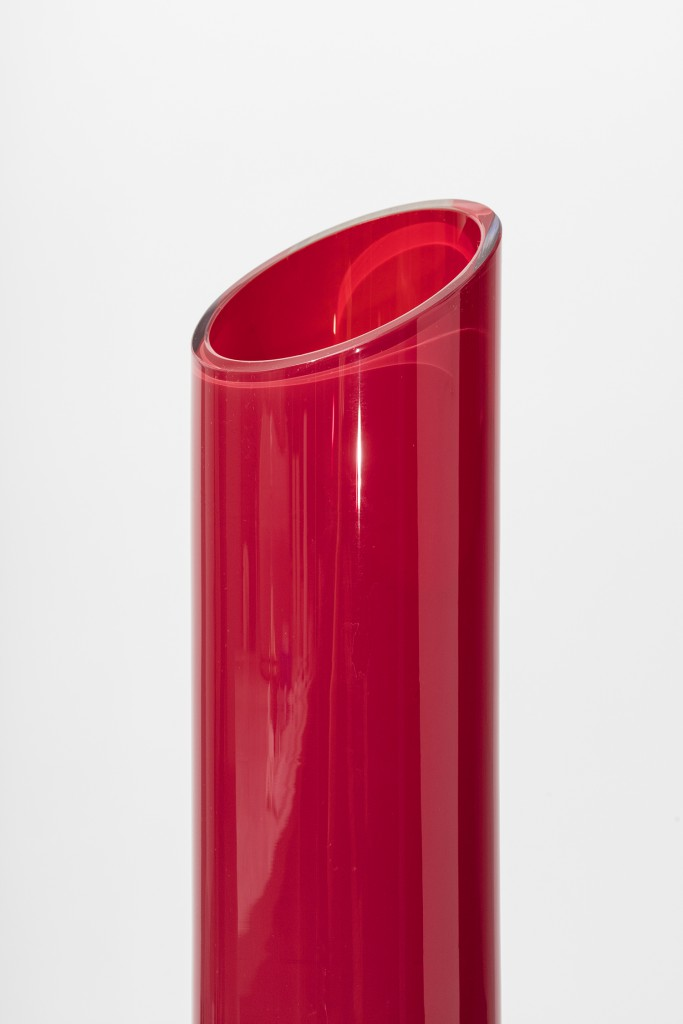 Implements In Blood Red by Åsa Jungnelius, Glass, leather, mirroring, tape, 32h x 7w x 7d in
