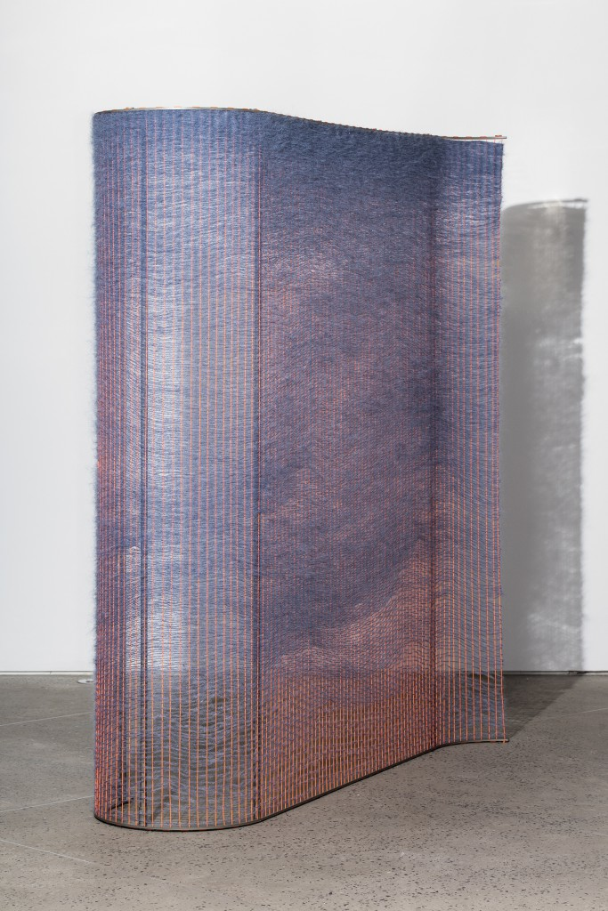 Neon Orange and Periwinkle Wall by Mimi Jung, Woven mohair with steel structure, 78h x 70w x 40d in