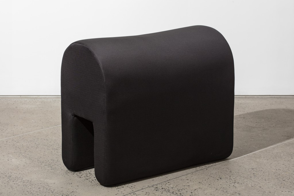 Soft Pavilion #2 (Bench) by Ania Jaworska, Wood Frame, Memory Foam, Foam Padding, Neoprene Fabric, 28h x 20w x 20d in.