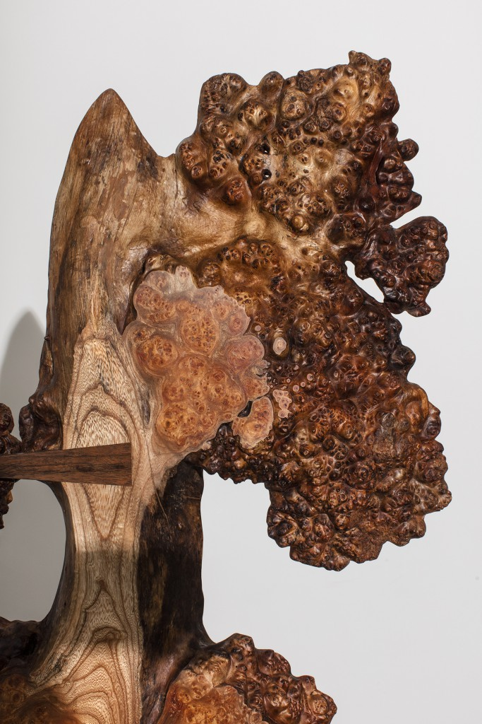 "Wych Elm Burl Tsuitate, or ""Phoenix Rising"" by Mira Nakashima, Scottish Wych Elm Burl, East Indian Laurel, American Black Walnut, 97h x 36w x 36d in."