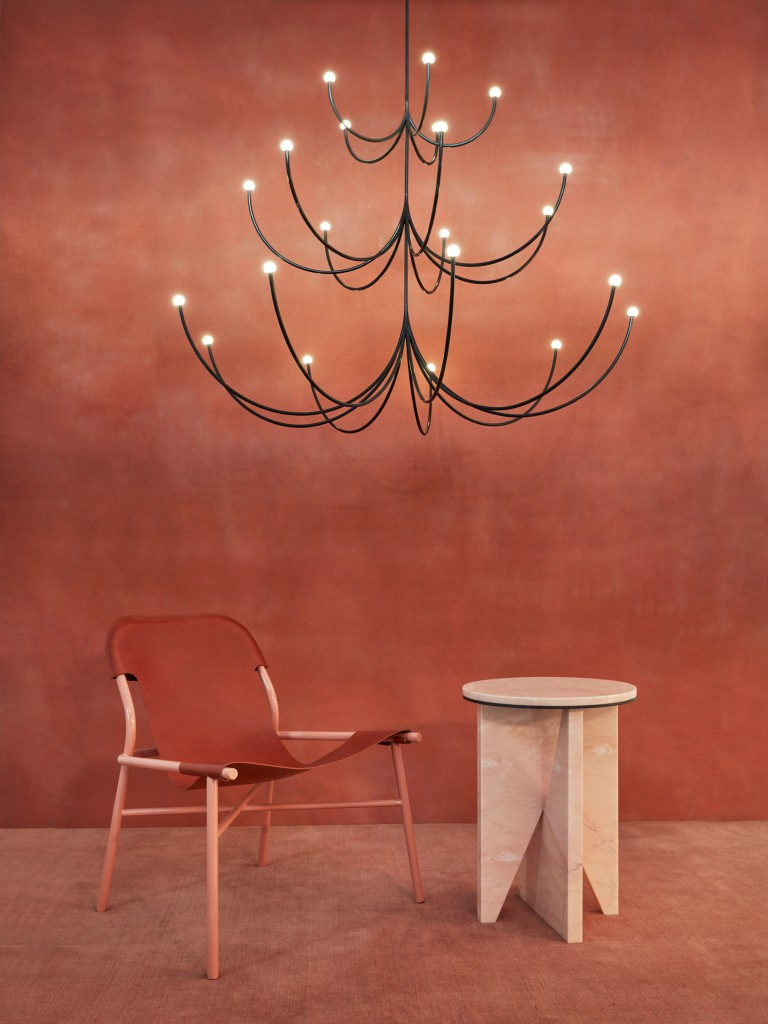 Arca Chandelier by Philippe Malouin, Okayo Lounge chair, Affordances Table