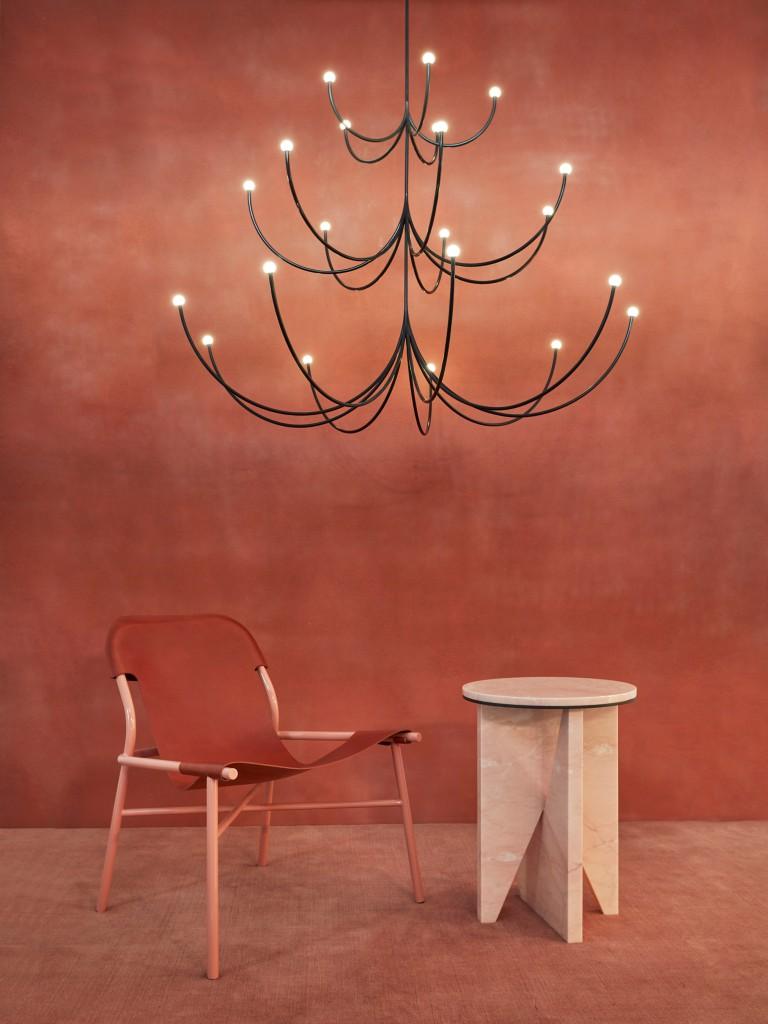 Arca Chandelier by Philippe Malouin, Okayo Lounge chair, Affordances Table