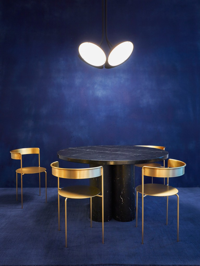 Nix Pendant Lights, Slon Dining Table by Nero Marquina and Avoa Chairs by Pedro Paulo Venzon