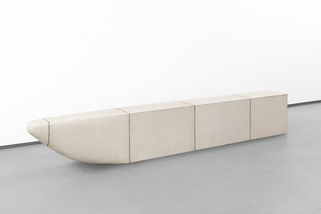 An industrially crafted boudoir : Stadler's PdT furniture group (2014) as a metaphor of the Antique architectural luxuries (Pierre de Taille, computer-cut limestone or ashlar): a table, a bench, and a mirror are contrasting with the white-painted plywood set elements of Noguchi for Martha Graham's Herodiade (1944) : a mirror, a chair, a clothes rack and a backdrop, exploring the discomfort zones of the so-called functional objects