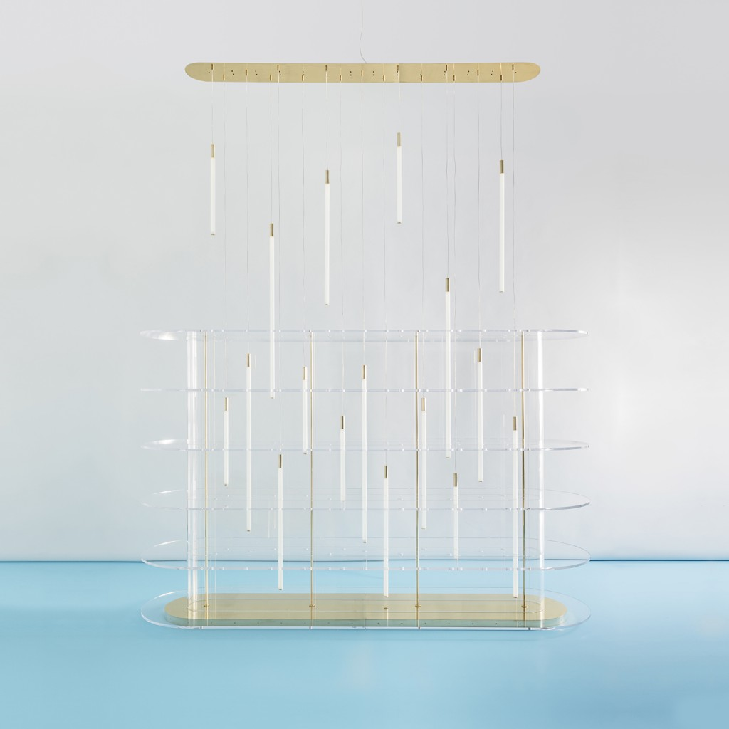 Euforia, plexiglass shelving system with polished brass base and structure with led lights, 2017. Photo: Delfino Sisto Legnani.