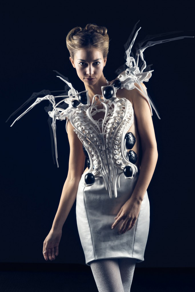 Anouk Wipprecht, Spider Dress 2.0, 2015 3D-printed with Intel Edison Microcontrollers. Photo: Jason Perry