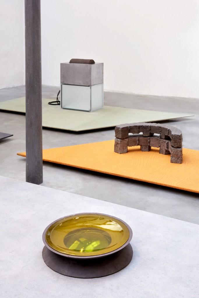 Installation view of Harvest with Breach Bowl and Scroll Wheel by Carlo Lorenzetti, and New Primitives by Bram Vanderbeke during Milan Design Week
