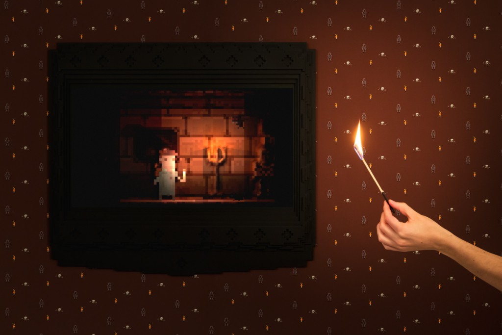 BloodBank by Sébastien Beureux, Marianna Czwojdrak, Laurent Monnet and Vincent de Vevey. Hold a physical flame up to the digital dark- ness to escape from Dracula's castle. Avoid monsters and keep an eye on your match in order to survive. As the flame runs out, so does the time remaining to make it out alive.