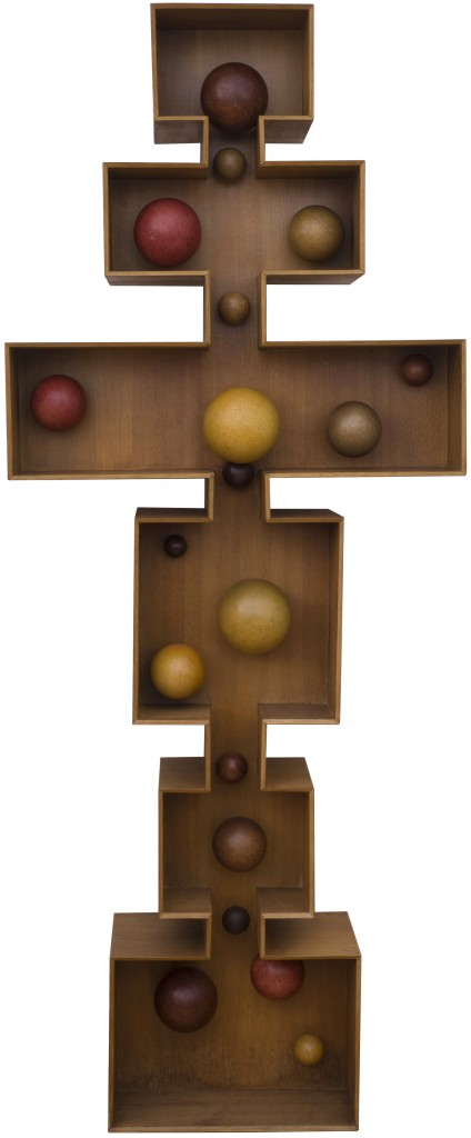Pol Bury, 19 Balls in an Open Volume – 1965 Polychrome-tinted wood and cork, electric motor, 230 x 92 x 32 cm Private collection, Brussels © Luc Schrobiltgen