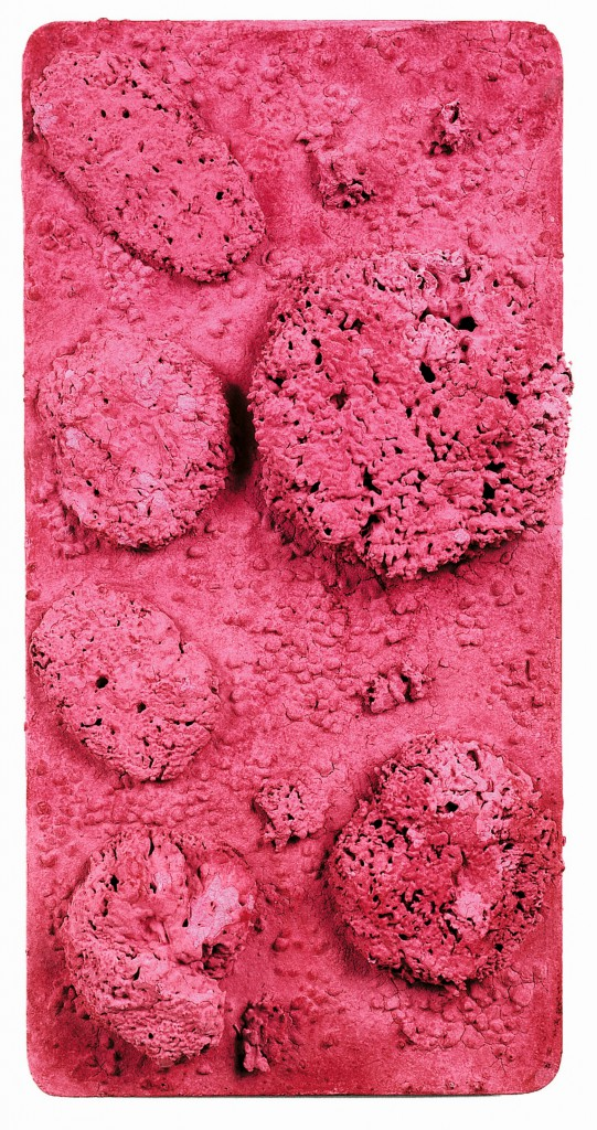 Yves Klein, 1928-1962 Untitled Pink Sponge-relief, (RE 44) c.1960 Dry pigment and synthetic resin, pebbles, natural sponges on panel 650 x 320 mm © Yves Klein, ADAGP, Paris / DACS, London, 2016
