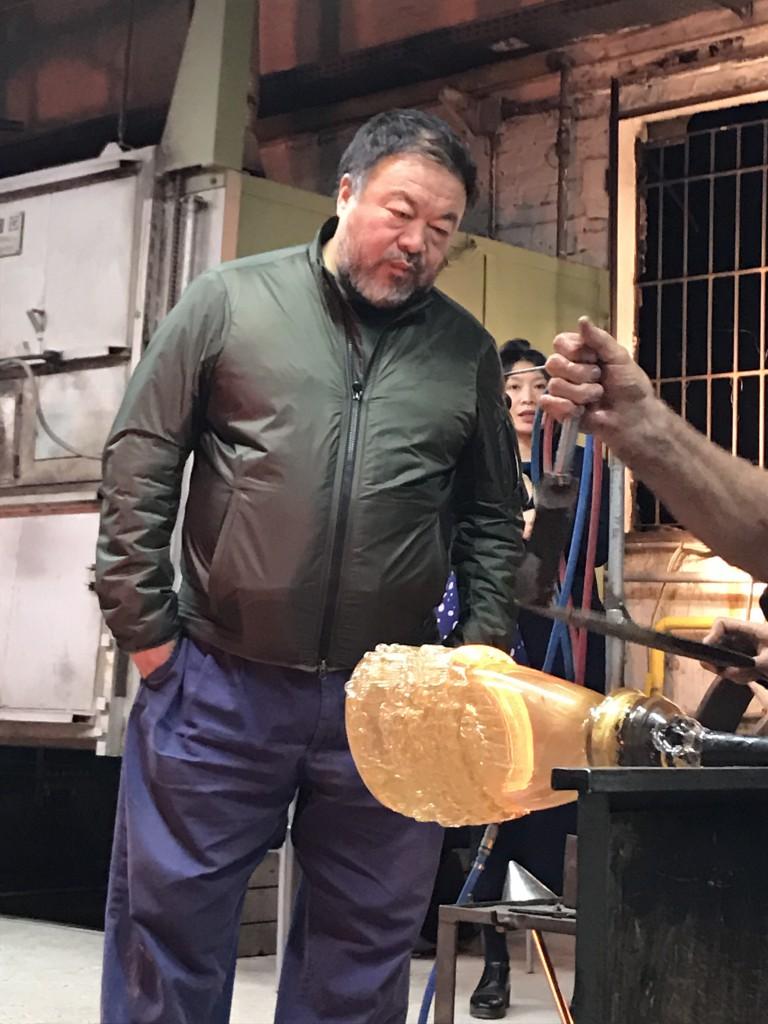 Ai Weiwei in the Berengo Studio furnace, 2016. Photo: Marco Berengo