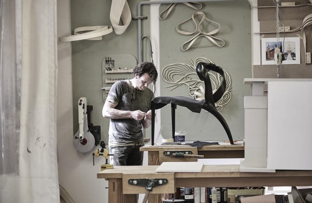 Joseph Walsh making an Enignum chair