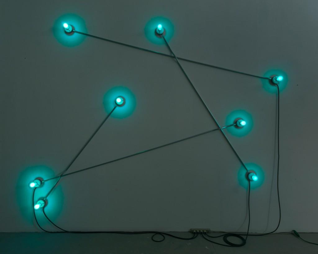 Constellation in Blue (figure 2), 2013 - Galvanized steel, copper wire, porcelain