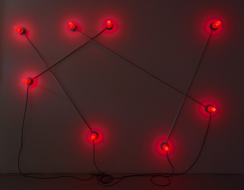 Constellation in Red (figure 1), 2013 - Galvanized steel, copper wire, porcelain