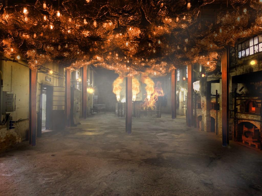 Loris Gréaud, The Unplayed Notes Factory, 2017, glass, light bulbs, metal, from 30 to 60 cm diameter each piece / variable dimensions (installation), Courtesy of: Loris Gréaud, Gréaudstudio
