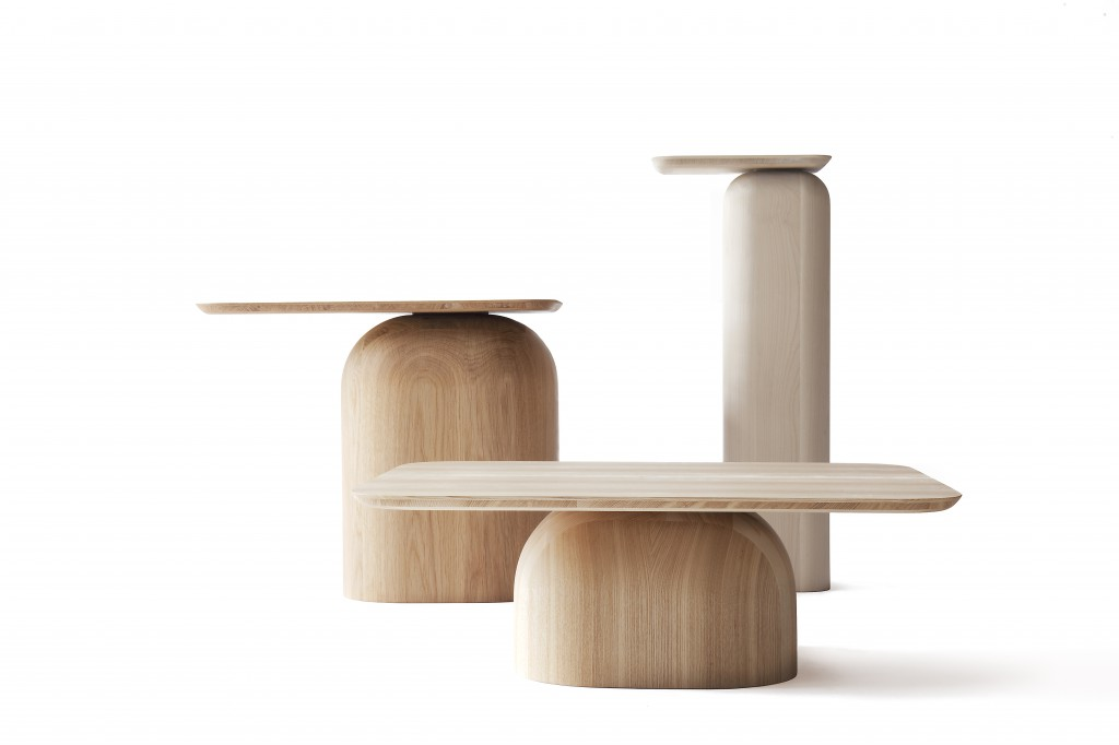 April Tables by Alfredo Häberli, ash, oak and birch finished with natural oil