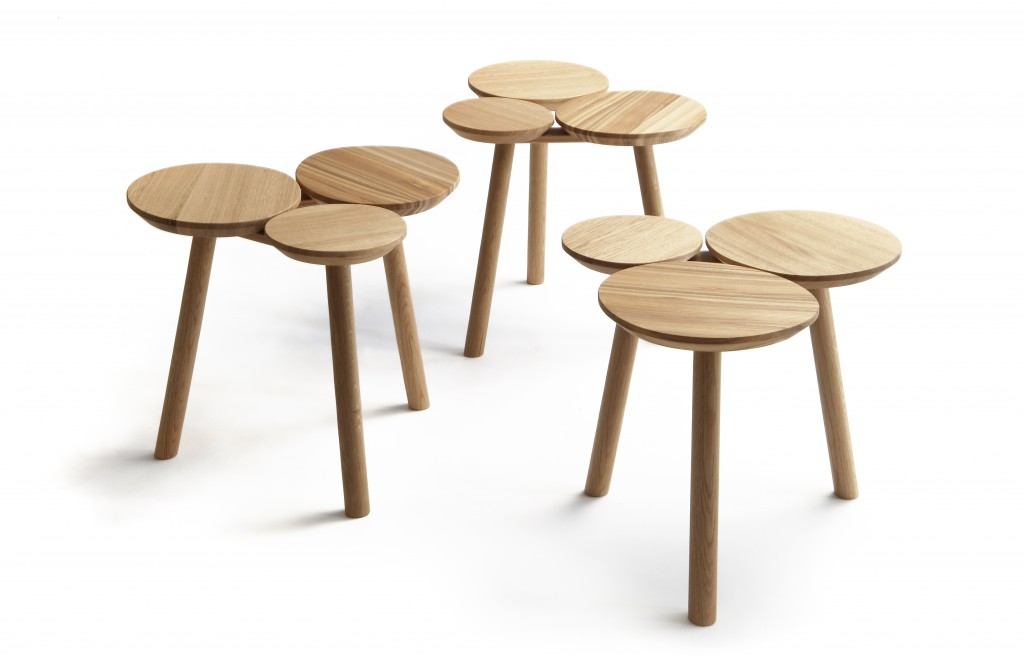 July Small Table or Stool by Nao Tamura, elm and oak finished with natural oil