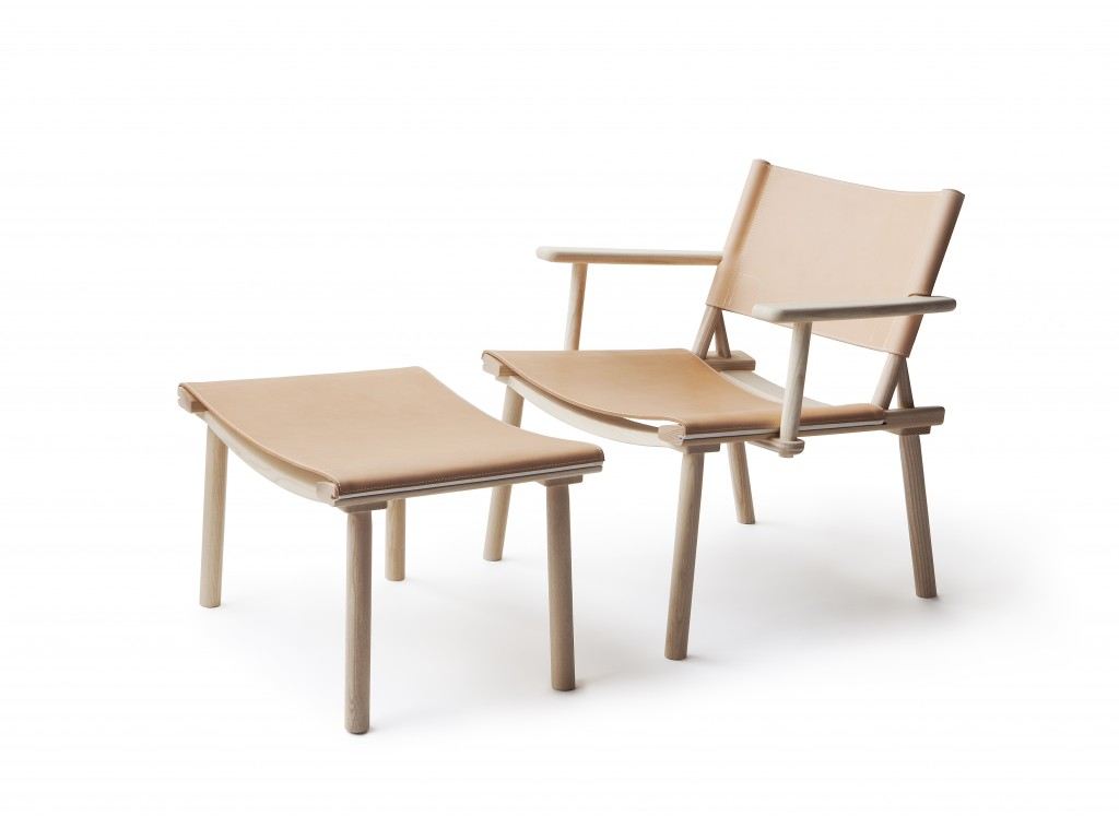December XL Lounge Chair and Ottoman by Jasper Morrison and Wataru Kumano in 2016, ash or oak and canvas or leather finished with natural oil