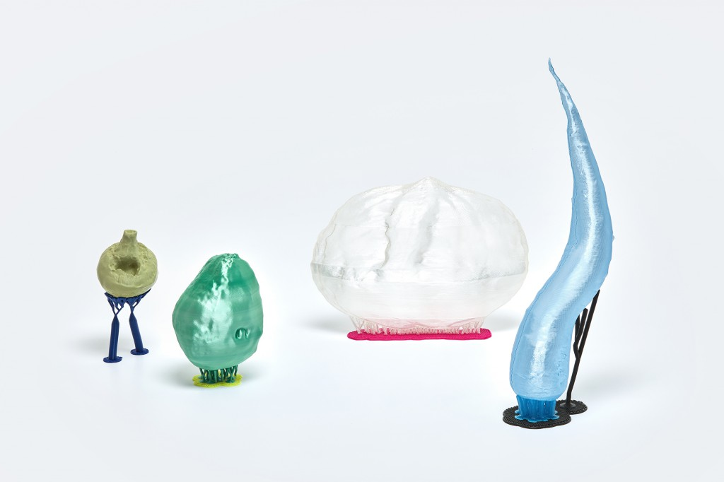 Champie, Avocado With The Belly Button, Flatnut, Granny Smith, 3D-printed PLA. Photo: Jeroen van der Wielen. Courtesy of Gallery Roehrs & Boetsch.