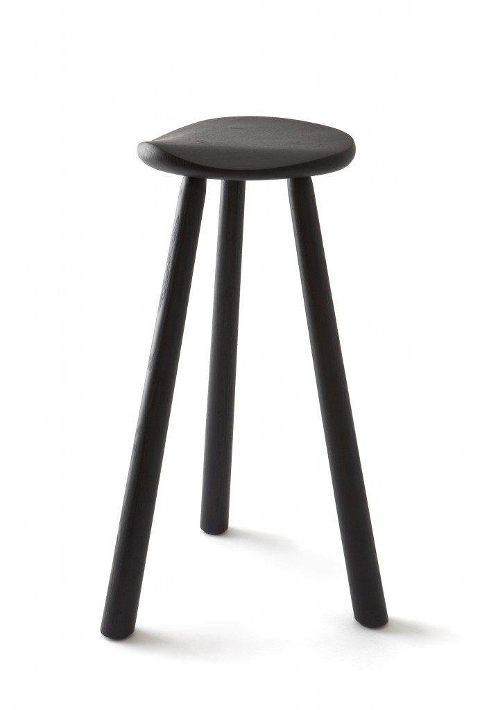 Café Classic RMJ1-2-3 Stool by Rudi Merz in 1999, ash finished with natural oil or black stain