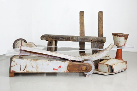 Bench by Anthony Caro, 2011-2013 Steel, wood and perspex 147 x 316 x 178 cm