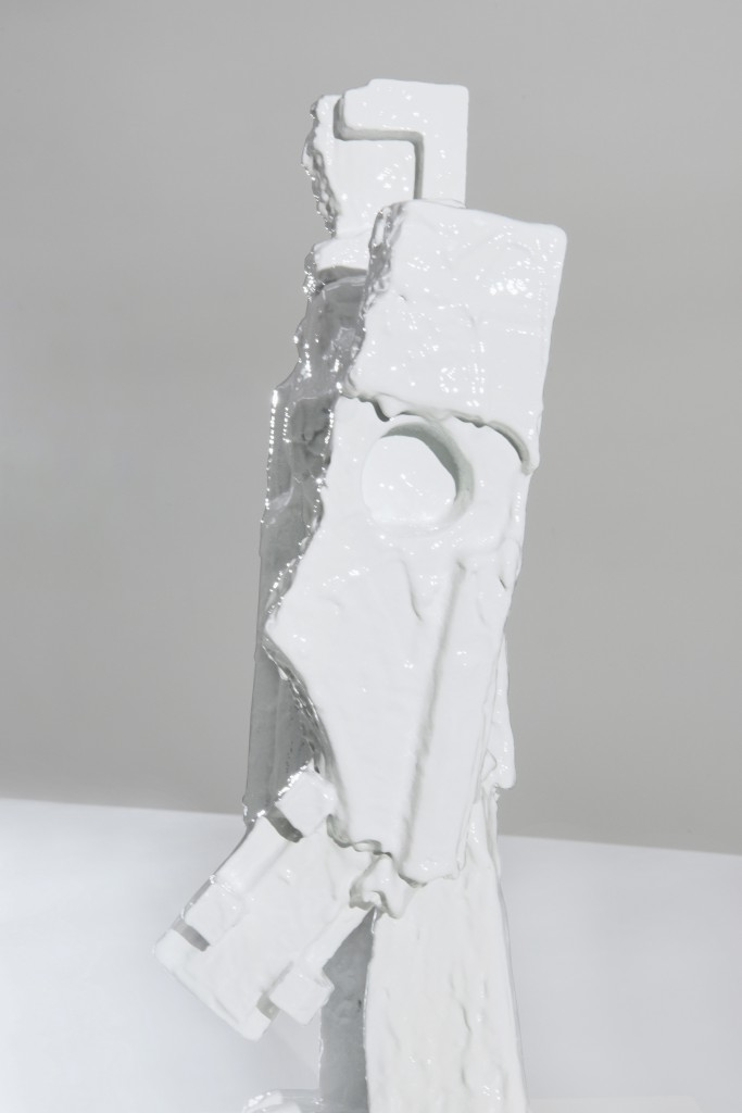 Robots by Bastien Aubry, Dimitri Broquard modeled by hand, scanned, polymers and silica sand, binder jetting (powder bed 3D printing), infiltrated and painted, 67 × 35 × 25 cm, Producer: Christenguss AG