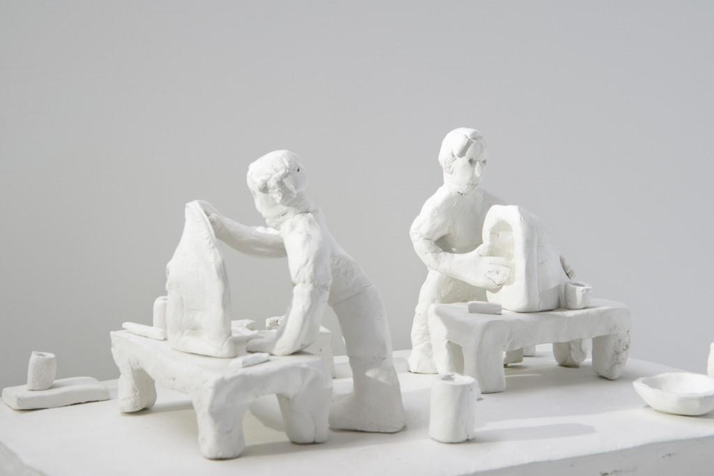 Handmade by Bastien Aubry, Dimitri Broquard Clay, modelled by hand, air-dried, 14 × 30 × 20 cm