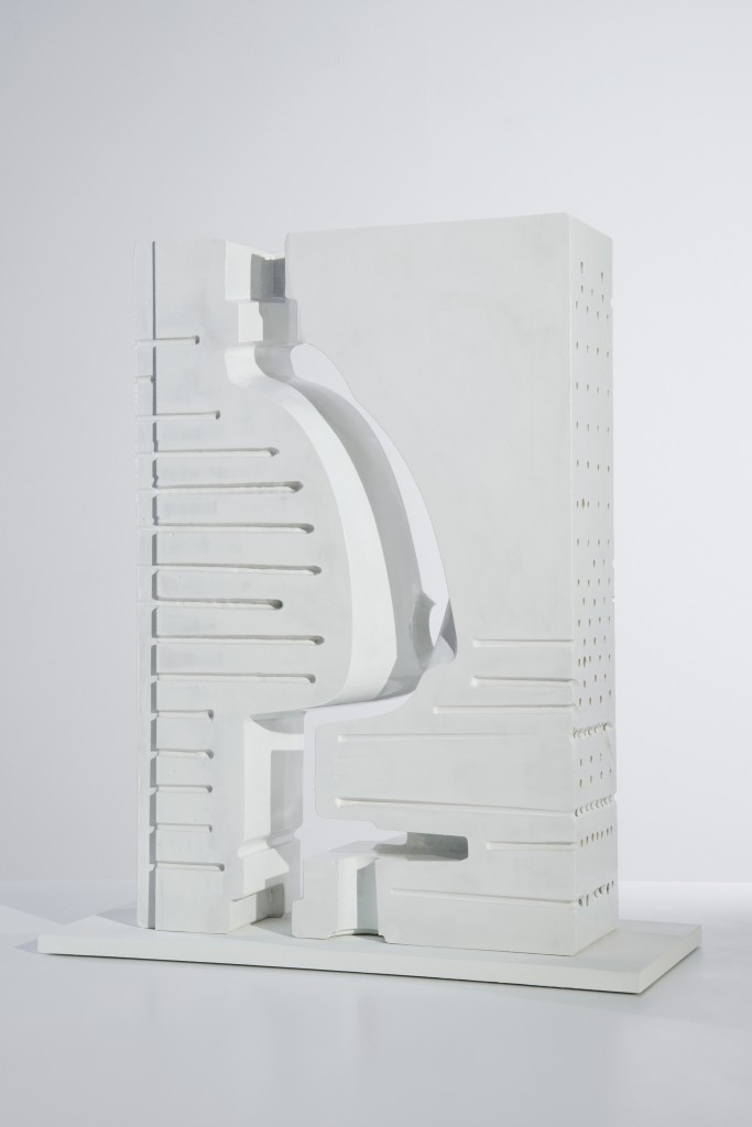 Ingenuity, pressure casting mould, Laufen Varia Resin, milled section of casting form, cut, lackered, 75 × 45 × 16cm